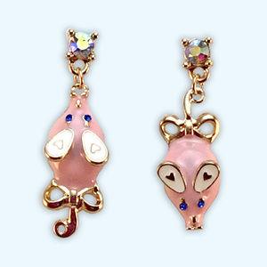 Betsey Johnson Pink Mouse Earrings